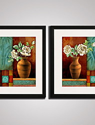 Framed Bamboo and  Flowers Picture Print  on Canvas  for Wall Decoration 40x50cmx2pcs Ready To Hang