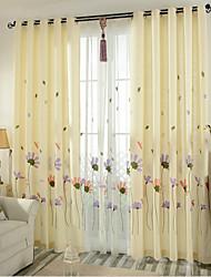 Dois Painéis Tratamento janela Neoclassicismo Quarto Mistura de Linho e Poliéster Material Cortinas cortinas Decoração para casa For