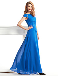 Lanting Sheath/Column Mother of the Bride Dress - Royal Blue Ankle-length Short Sleeve Chiffon