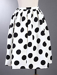 Boutique g Frauen Polkapunkt weißen Röcken, Jahrgang / casual / Tag knielang