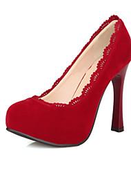 Women's Heels Spring Summer Fall Platform Fleece Wedding Dress Party & Evening Stiletto Heel Platform Flower Black Brown Red Walking
