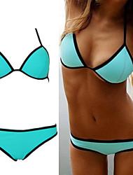 sexy puro fluorescência biquíni straped conjunto swimwear das mulheres