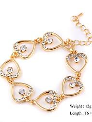 European Style Elegant Heart Zircon Chain Bracelet Gold Plated