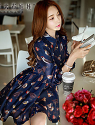 Women's Bird Printed Work / Casual / Day Print A Line Dress , Shirt Collar Above Knee Polyester / Spandex