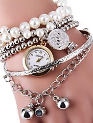 Femme Montre Tendance Bracelet de Montre Quartz Alliage Bande Perles Argent Doré