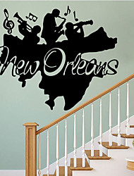 4081 New Orleans Band Character Bedroom Art Decorative Wall Stickers Removable the carved painting