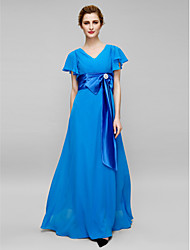 Sheath / Column Mother of the Bride Dress Floor-length Short Sleeve Chiffon with Crystal Detailing / Criss Cross