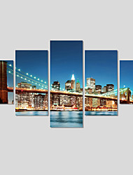 5 Piece(No Frame)Cityscape Modern Home Decor Pictures On The Wall Canvas Art Picture Print Painting On Canvas
