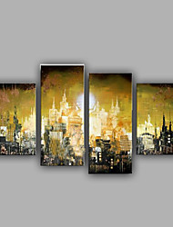 4-Sets Oil Painting Modern City View Handmade Painted Design