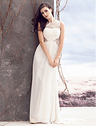 Lanting Bride Sheath/Column Wedding Dress-Sweep/Brush Train Jewel Chiffon / Lace