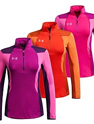 Women Outdoor Sports Collar Quick-Drying Long Sleeve Tshirt Breathable Fleece Thickening Warm Blouse Clothing