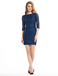 Lanting Sheath/Column Mother of the Bride Dress - Dark Navy Short/Mini Half Sleeve Lace
