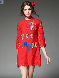 Vintage Fashion Women Dress Sexy Hollow Out Embroidery Lace Letter Bead Gem Loose Plus Size Dress