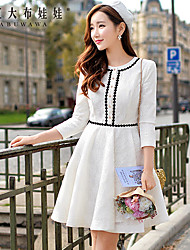 Women's Round Neck Midi Dress,Others White Long Sleeve
