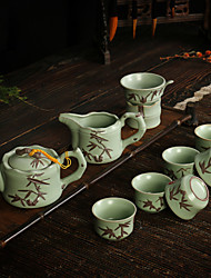 Ceramic Tea A Complete The Slice High-End Gifts Set of 10  (1pc Tea Pot, 6pcs Cups,2pcs Tea Funnel,1pc Tea Set)