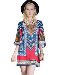 Women's Casual / Day / Boho Print Swing Dress , Round Neck Above Knee Silk