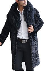 Men Fox Fur / Raccoon Fur / Faux Fur Outerwear , Lined