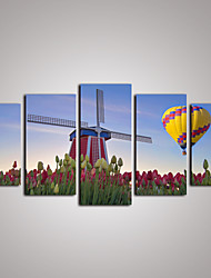 5 Panels Holland Windmill and Tulip Flowers  Canvas Print Modern Wall Art for Home Decor Unframed