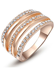 T&C Women's Christmas Gift Crystals Roma Party Ring Rose Gold Plated Fashion Jewelry