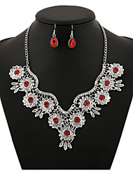 MPL  European and American retro hollow carved Gemstone Necklace Earrings Set