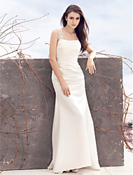 LAN TING BRIDE Sheath / Column Wedding Dress Simply Sublime Sweep / Brush Train Square Satin with Appliques Ruche