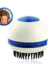 Mini Circular Electric Vibrating Massage Hair Comb with Absorbing the Dandruff  (2*AA)