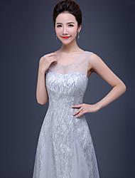 Formal Evening Dress - Silver A-line V-neck Floor-length Tulle / Sequined