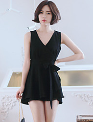 Korean Style Women's Work / Casual / Day Solid Sheath / Little Black Dress , Deep V Mini Others