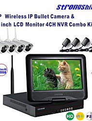 Strongshine® Wireless IP Camera with 720P/Infrared/Waterproof and NVR with 10.1Inch LCD /2TB Surveillance HDD Kits