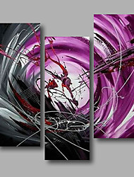 """Ready to Hang Stretched Hand-Painted Oil Painting Canvas Three Panels 36""""x40"""" Wall Art Modern Abstract Purple Grey"""