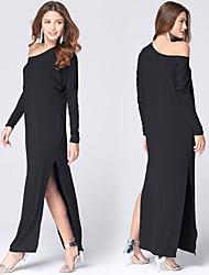 Women's Fashion Casual / Beach Slash Neck Loose Maxi Dress