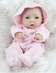 NPKDOLL Reborn Baby Doll Hard Silicone 11inch 28cm Waterproof Toy Hooded clothing Pink Girl