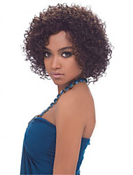 Ms African Brown and Black Wig Fashion Style High Temperature Wire Short Curly Hair Wig