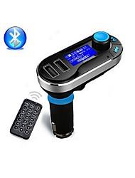 bluetooth kit de coche reproductor de mp3 fm transmisor manos libres inalámbricos con carga USB dual 2.1a, soporte usb / sd / aux-in