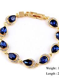 European Style Elegant Water Drop Zircon Chain Bracelet Gold Plated