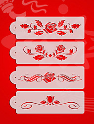 Rose Design2# Wedding Cake Stencil Set,Plastic Cake Side  Stencil Stencil,Fondant Cake Tools,Cake Supplies ST-3175