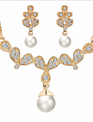 Lucky Doll Women's All Matching Luxury Gem Rose Gold Plated Necklace & Earrings Jewelry Sets