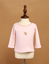 Girl's Pink / White Tee,Ruffle Cotton Winter