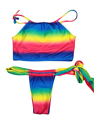 Women's Halter Rainbow Tie Strap Wireless Bra Bottom Bikini Set