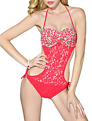 Womens Floral Lace Mesh Push Up Padded One Piece Swimsuit
