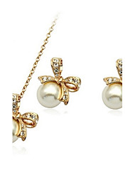 Jewelry Set Shining Crystal Elegant Imitation Pearl Bowknot Pendant Necklace Earring(Assorted Color)