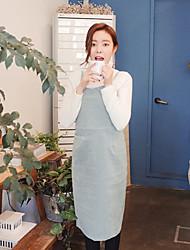 estilo coreano das mulheres trabalho / casual / dia vestido solto sólida, correia acima de fibra de bambu joelho