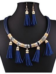 MPL New fashion all-match multi-layer leather Tassel Necklace Earrings Set