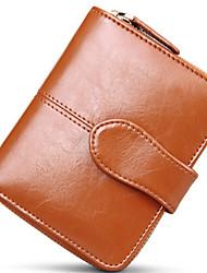 Damen - Clutch / Brieftasche / Bankkarten & Ausweis Tasche / Geldbörse / Visitenkartenhalter - Zweifach gefaltet - Kuhfell -Blau / Braun