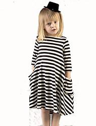 Girl's Black Dress , Stripes Cotton Summer