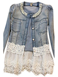 Women's Casual/Daily Antique Vintage Cute Spring Fall Denim Jacket,Solid Round Neck Long Sleeve Short Beaded Lace