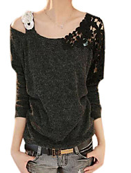 Women's Blue/Pink/Black T-shirt,Casual Asymmetrical Long Sleeve Beaded/Lace