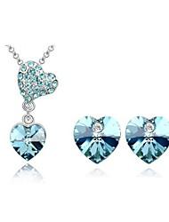 Jewelry Set Elegant Crystal Heart Pendant Necklace Earrings Girlfriend Gift