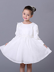 A-line Knee-length Flower Girl Dress - Lace / Satin Long Sleeve