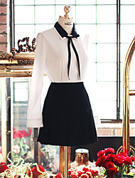 Korean Style Women's Solid White Blouse , Shirt Collar Long Sleeve